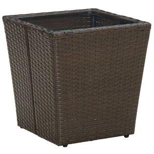 Lumarko Stolik herbaciany, brązowy, 41,5x41,5x44 cm, rattan PE i szkło