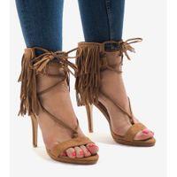Beżowe sandały na szpilce zamsz boho 8125-1 r.37