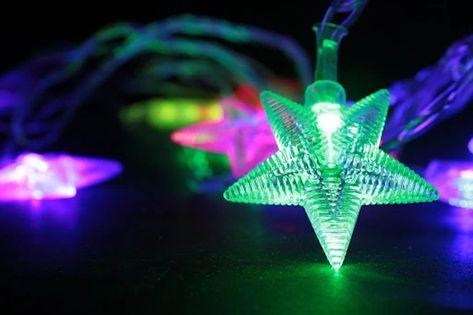 Lampki choinkowe gwiazdki 30 LED 6 m multikolor