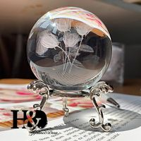 Grawerowane Kryształowe Kule -  6cm 3D -Piękna   Dekoracja