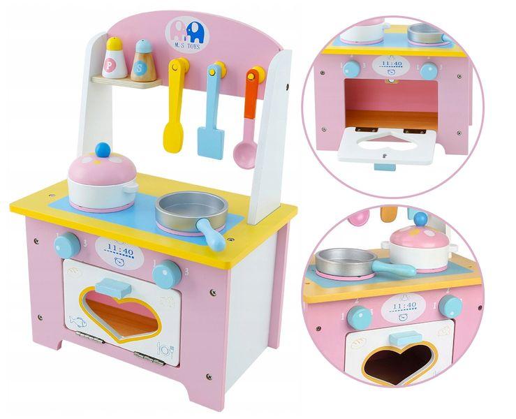 Drewniana Kuchnia Dla Dzieci z Akcesoriami otwierany piekarnik U46 zdjęcie 11