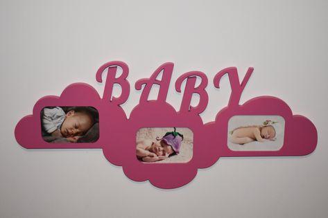 Multiramka drewniana ramka na zdjęcia z napisem  BABY