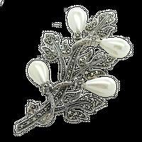 CAMILA;  Srebrna broszka z markazytami i perłami, gałązka