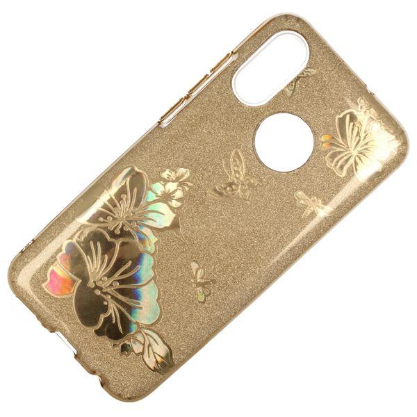 Etui Brokat Glitter Samsung Galaxy A7 2018 Złoty Kwiat zdjęcie 3