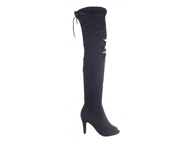 Czarne jeansowe kozaki buty letnie z odkrytym palcem 40 na Arena.pl