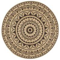 Ręcznie wykonany dywanik, juta, ciemnobrązowy nadruk, 150 cm