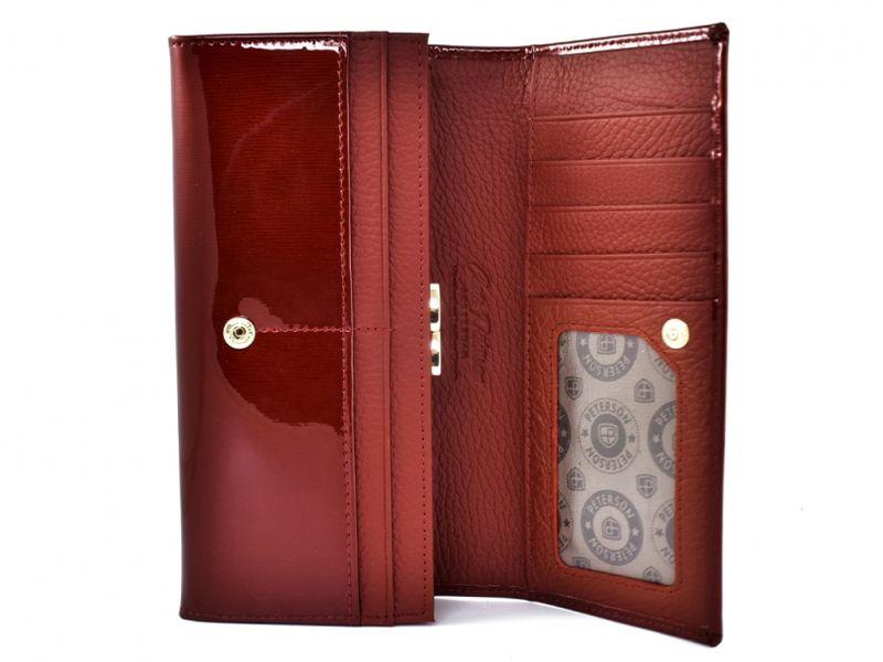Duży czerwony portfel damski, lakierowany, RFID, Peterson zdjęcie 4