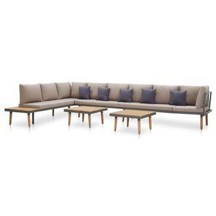 7-cz. zestaw wypoczynkowy do ogrodu, poduszki, drewno akacjowe