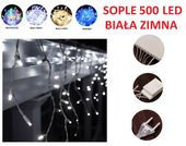 7x SOPLE 500 LED LAMPKI CHOINKOWE BIAŁE ZIMNE