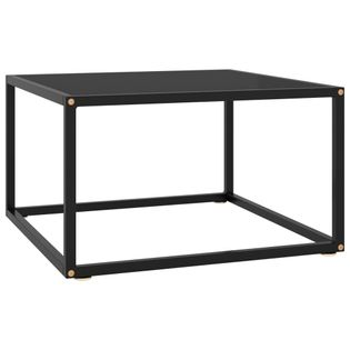 Lumarko Stolik herbaciany, czarny, czarne szkło, 60x60x35 cm