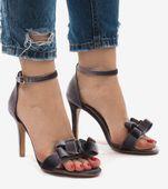 Szare zamszowe sandały szpilki kokardka LB-291 38