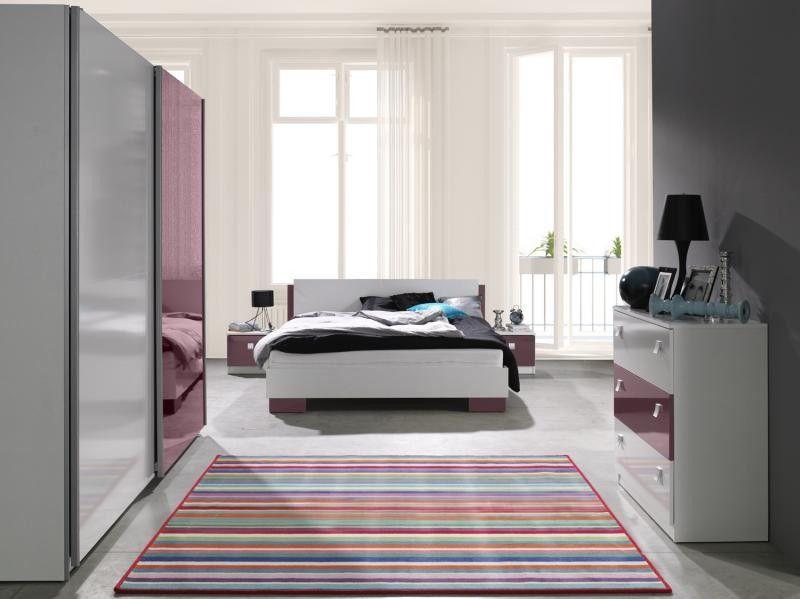 Sypialnia Zestaw Mebli Lux Mx Biały Fiolet Połysk Szafa łóżko