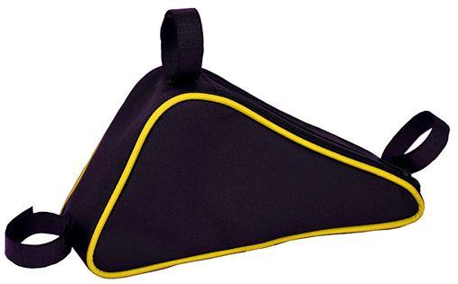 SAKWA NA RAMĘ ROWEROWĄ, TORBA ROWEROWA TRÓJKĄT, czarno--żółta