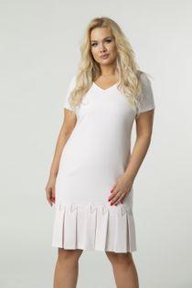monochromatyczna sukienka pudełkowa z plisowaną spódnicą