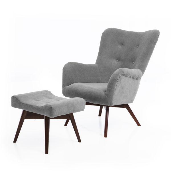 Fotel uszak mały styl skandynawski podnóżek gratis zdjęcie 1