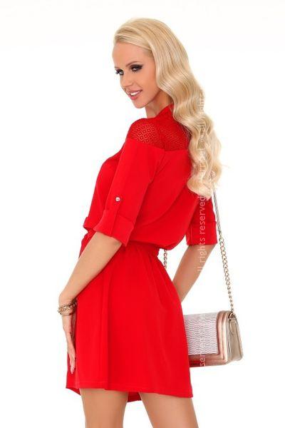 b730c20356 Elegancka czerwona mini sukienka wiązana guziki M • Arena.pl