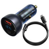 Baseus Ładowarka Samochodowa Usb / Usb Typ C 65 W 5 A Scp Quick Charge 4.0+ Power Delivery 3.0 Ekran Lcd + Kabel Usb Typ C - Usb Typ C Szary (Tzcckx-0G)