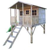 Domek ogrodowy dla dzieci 4IQ Gucio drewniany ze ślizgiem i tarasem zdjęcie 1