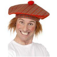 BERET SZKOTA szkot szkocka krata CZAPKA z włosami