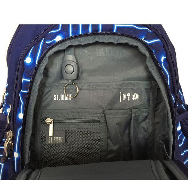 Trzykomorowy plecak szkolny St.Right 29 L, Pixelmania Blue BP4 zdjęcie 5