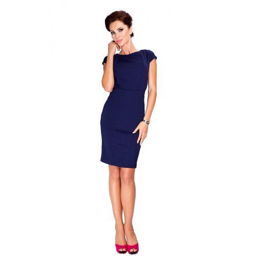 Elegancka sukienka z krótkim rękawkiem - Granatowa S zdjęcie 2