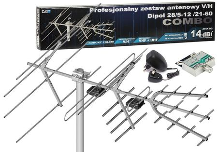 Antena DVB-T Combo VHF UHF Dipol + Wzmacniacz