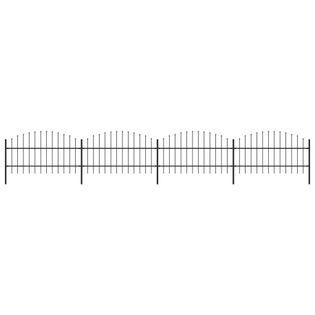 Panele ogrodzeniowe z grotami stal (0.75-1)x6.8m czarne VidaXL