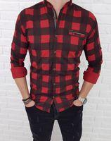Czerwono-czarna męska koszula ze stójką w kratę - XL