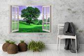 Obraz na płótnie - Canvas, okno - drzewo 120x80 zdjęcie 2
