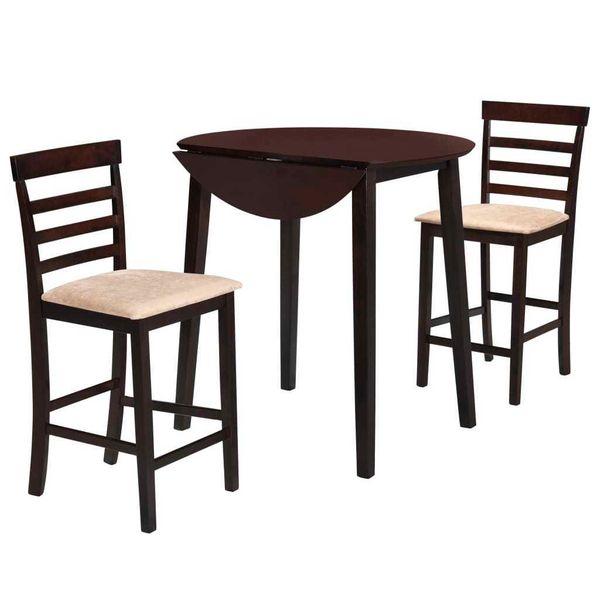 Stół I Krzesła Barowe, Lite Drewno, Ciemnobrązowe zdjęcie 1