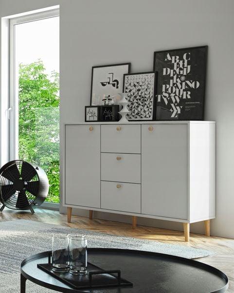 Basta komoda do salonu sypialni pokoju laminowana biała  95/120/35 cm na Arena.pl