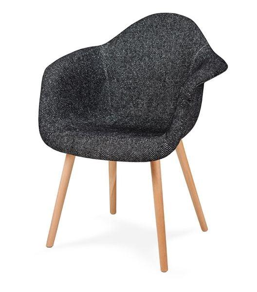 Fotel PLUSH czarna zebra - podstawa bukowa zdjęcie 3