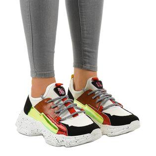 Białe sneakersy sportowe zdobione HL-03 r.37