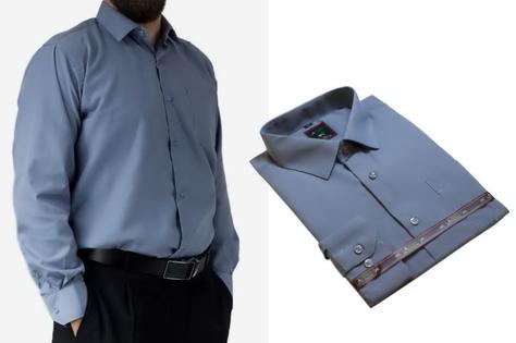 47/48 - 3XL/4XL Duża koszula męska elegancka szara gładka Laviino