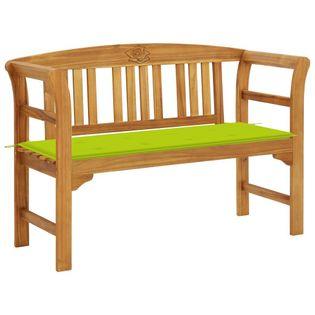 Lumarko Ławka ogrodowa z poduszką, 120 cm, lite drewno akacjowe