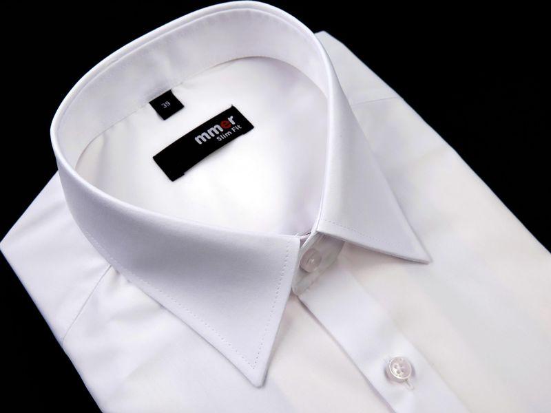 Biała koszula męska Mmer krótki rękaw 001 176-182 / 42-Slim zdjęcie 1