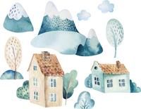zestaw NALEPKI naklejki na ścianę DOMKI chmury dla dziecka pokój M