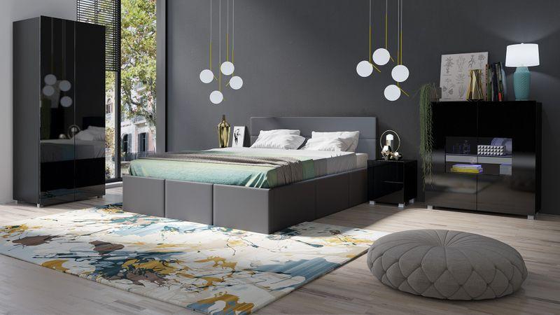 Sypialnia Calabrini 19c Białe łóżko Calabrini C Czarny Mat Czarny Połysk Calabrini łóżko Grafit Ekoskóra