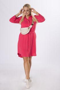 koszulowa sukienka szmizjerka z wiązaniem w pasie