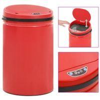 Automatyczny kosz na śmieci z czujnikiem, 30 L, stal, czerwony