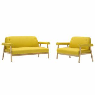 Zestaw wypoczynkowy dla 5 osób, obicie z tkaniny, żółty