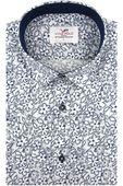 Koszula Męska Viadi Polo biała w kwiaty SLIM FIT na krótki rękaw K884 L 41 176/182