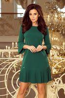 Taliowana sukienka z plisowanymi falbanami - Zielony M