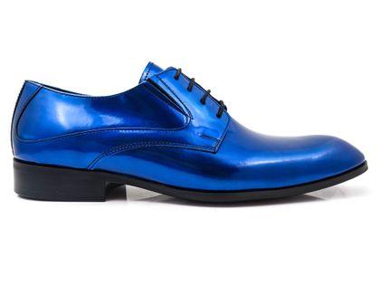 Niebieskie lakierki męskie T111 Rozmiar Obuwia - 40