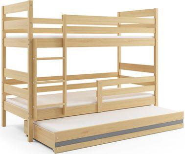 Łóżko piętrowe trzyosobowe Eryk 190x80 dla dzieci dziecięce drewniane