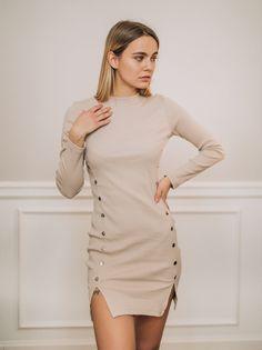 Sukienka Beżowa Ellie z guzikami-S/M