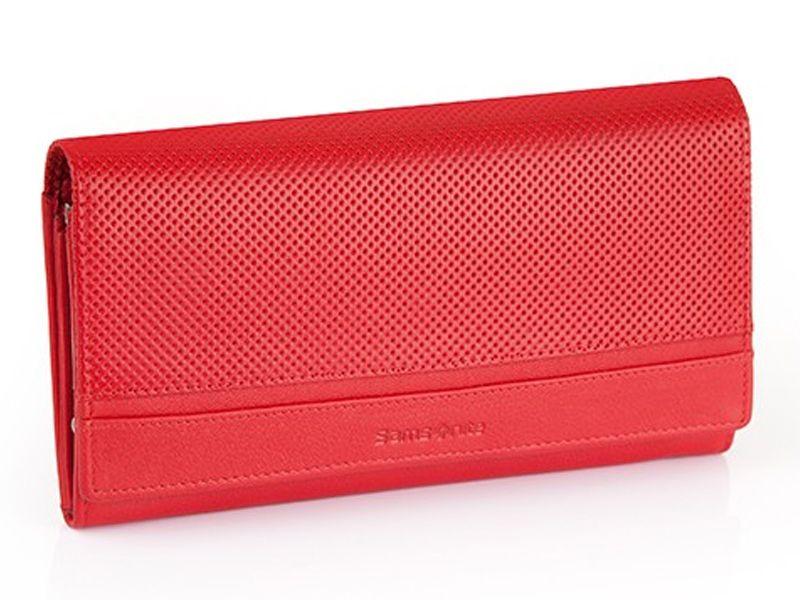 Długi, klasyczny portfel damski Samsonite, skórzany w kolorze czerwonym zdjęcie 1