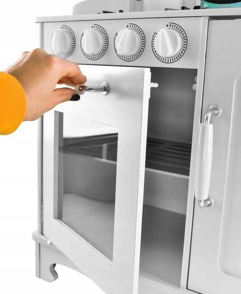 Kuchnia Drewniana Dla Dzieci Kuchenka Metalowe Garnki Światła Akcesoria Z371K zdjęcie 10
