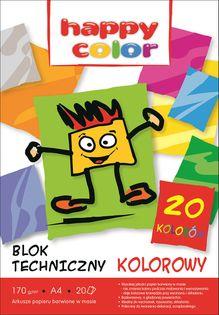 Blok techniczny kolorowy Happy Color 20K 170g A4