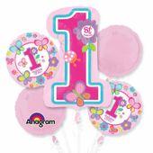 Bukiet balonów foliowych Roczek dziewczynki 5 szt